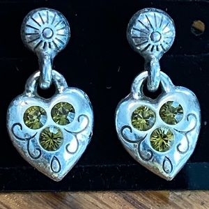 Brighton earrings with small green stones
